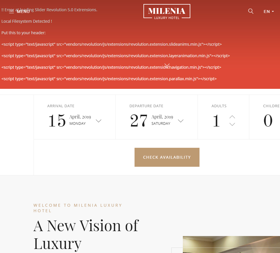 Milenia - Hotel & Resort - Website Template